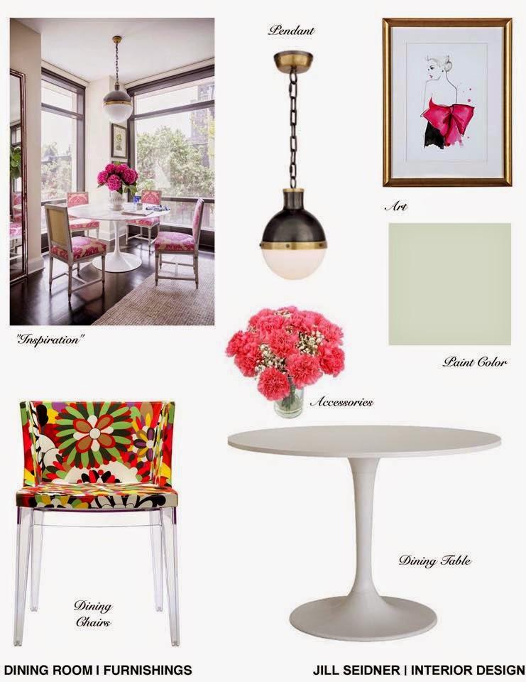 Los Feliz CA Condo Dining Room Furnishings Concept Board