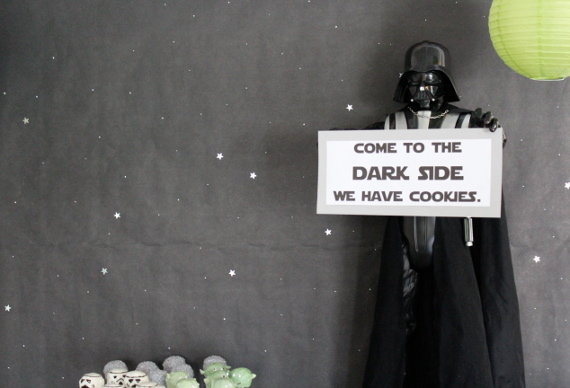 star wars themed party, food, decor and kids games on pretty providence