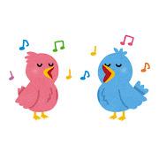 歌う鳥のカップルのイラスト(バラバラ)