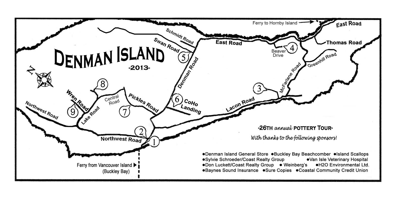 Map Of Denman Island Denman Island Pottery Tour   2013: MAP