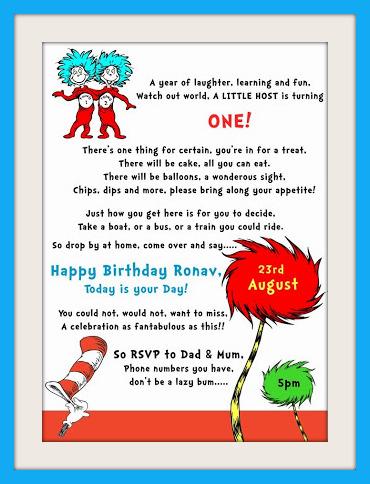 Dr Seuss themed 1st Birthday