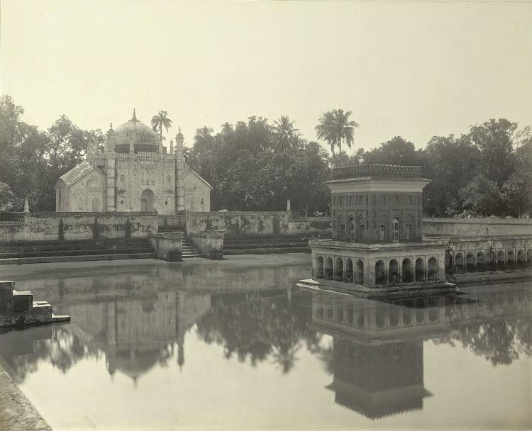 The mausoleum of Khoja Anwara (from across the tank) - Burdwan (Bardhaman), Bengal, 1904