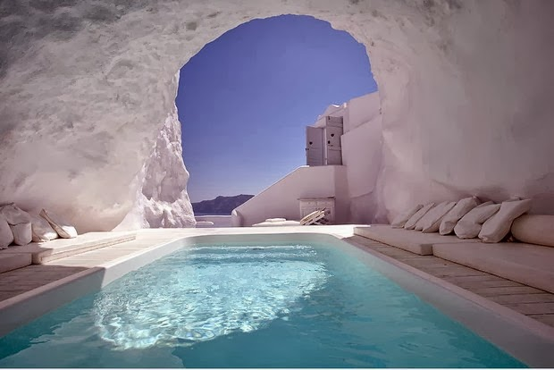 Places You Want to Be Right Now Cave Pool In Satorini, Greece