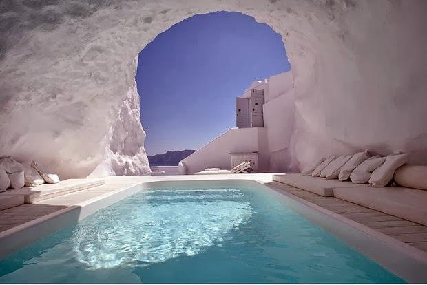 Cave Pool In Satorini, Greece