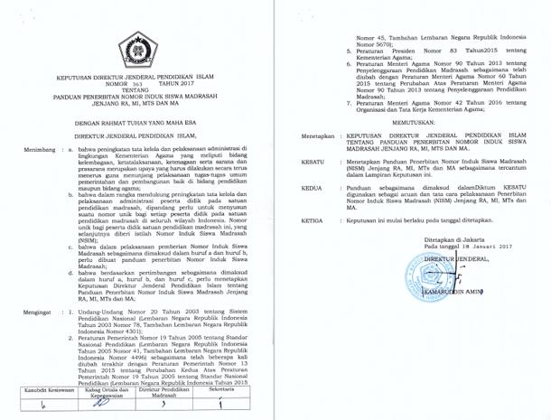 Keputusan Direktorat Jenderal Pendidikan Islam Nomor 363 Tahun 2017 tentang Panduan Penerbitan Nomor Induk Siswa Madrasah Jenjang RA, MI, MTs dan MA