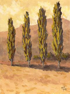 landscape painting autumn poplar minimalism tree golden