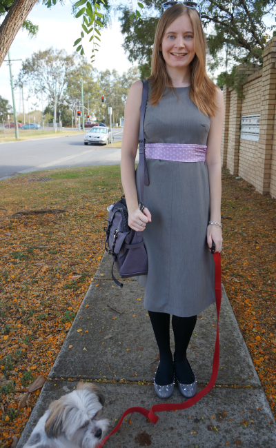 barkins grey sleeveless dress for the office purple silk scarf as obi belt
