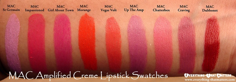 All+MAC+Amplified+Creme+Lipstick+Swatches