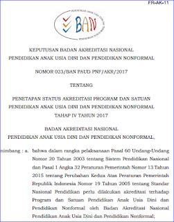 Penetapan Status Akreditasi Satuan PAUD dan PNF 2017