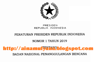 diterbitkan untuk menggantikan Perpres Nomor  TERLENGKAP PERPRES NOMOR 1 TAHUN 2019 TENTANG BADAN NASIONAL PENANGGULANGAN BENCANA (BNPB)