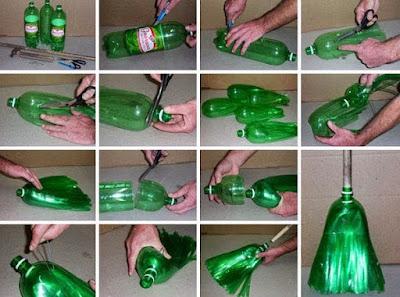 sapu Kerajinan tangan dari botol aqua