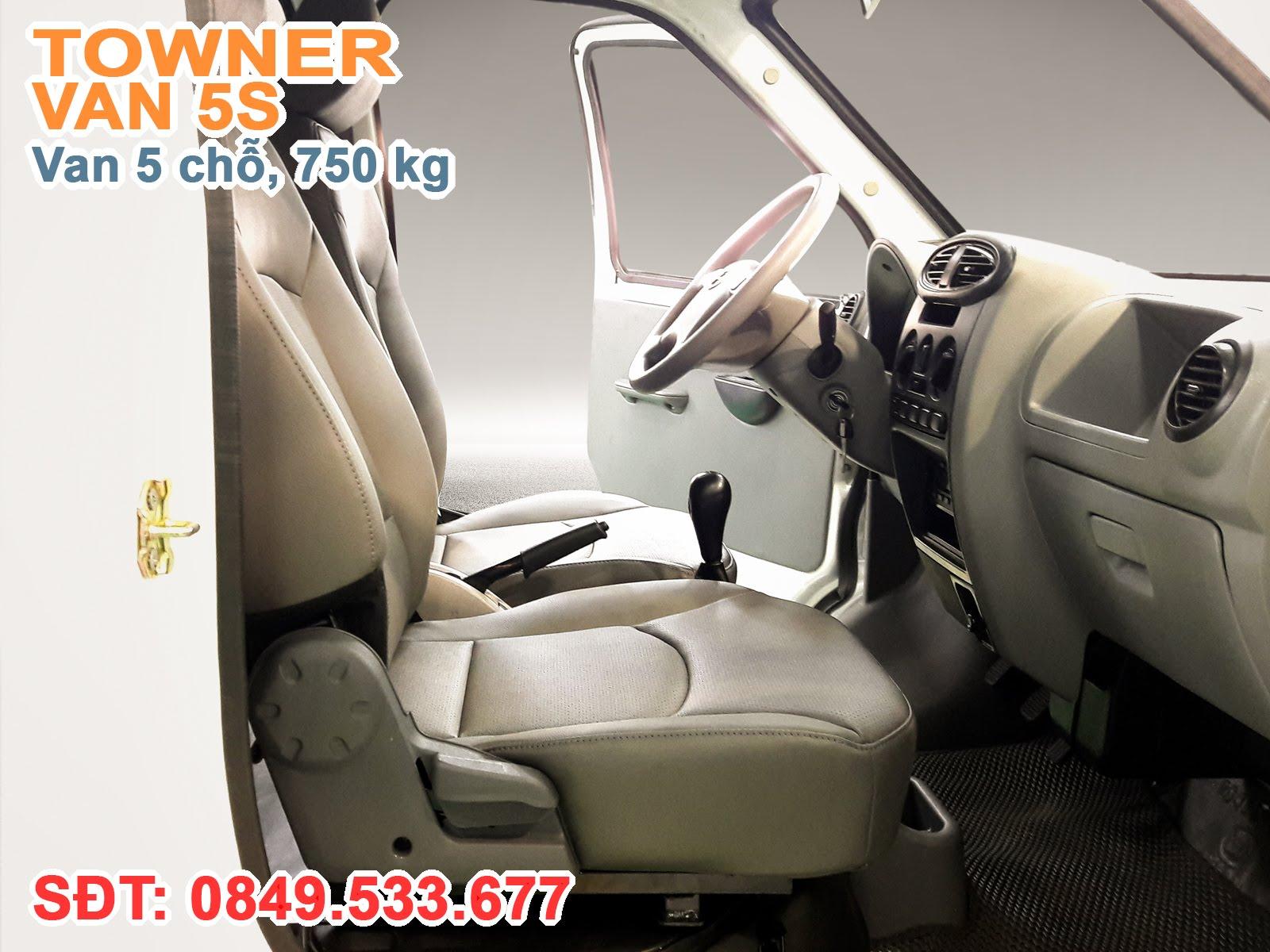 Xe Thaco Towner Van 5S, Nội thất thiết kế thẩm mỹ và tiện nghi gồm Máy lạnh tiêu chuẩn, Radio-USB, Kinh cửa chỉnh điện