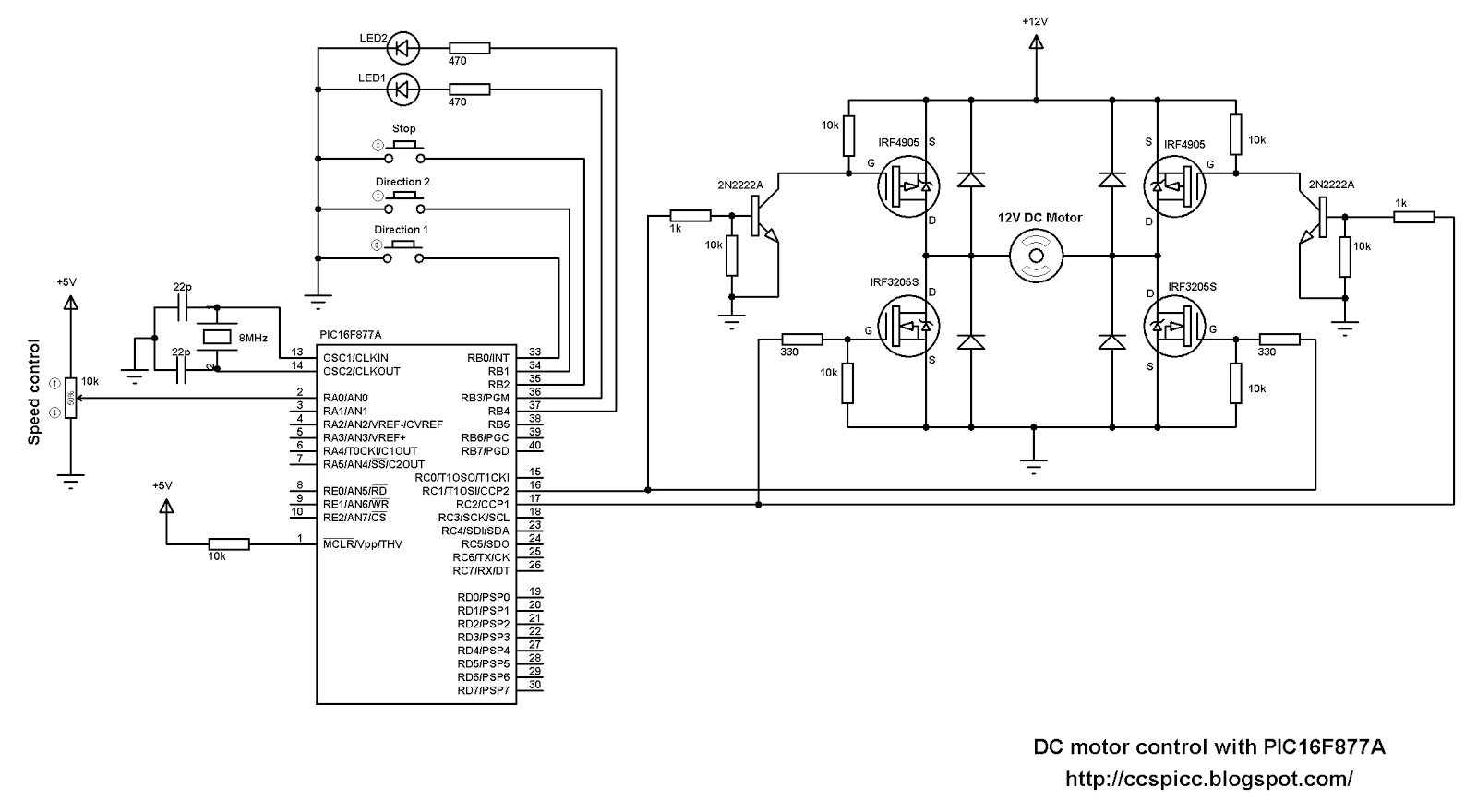 DC motor speed and direction control with PIC16F877A and H-bridge
