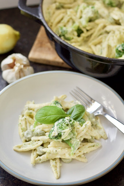 Creamy Broad Bean, Courgette and Broccoli Pasta