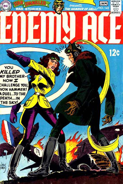 Star Spangled War v1 #142 enemy ace dc comic book cover art by Joe Kubert