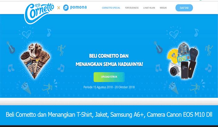 Beli Cornetto & Menangkan T-Shirt, Jaket, Samsung A6+, Camera Canon EOS M10 Dll
