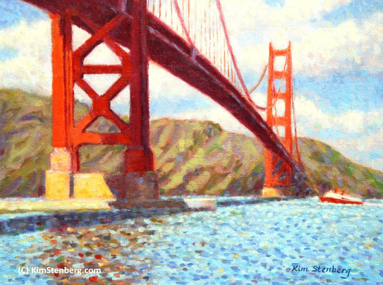 Golden Gate Bridge On Sunny Day Oil Linen 9 X 12 Sold