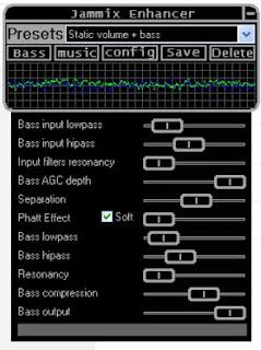 pada winamp saya tambahkan DSP plugin Jammix Enhancer untuk pengaturan tambahan dan mempertebal suara bass (Bass Booster)