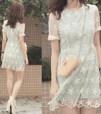 Bạn có thể lót một loại vải màu pastel nhẹ nhàng bên trong lớp ren thêu nổi thay vì các gam trung tính hay sử dụng như trắng, đen, be... để khiến chiếc váy có điểm nhấn
