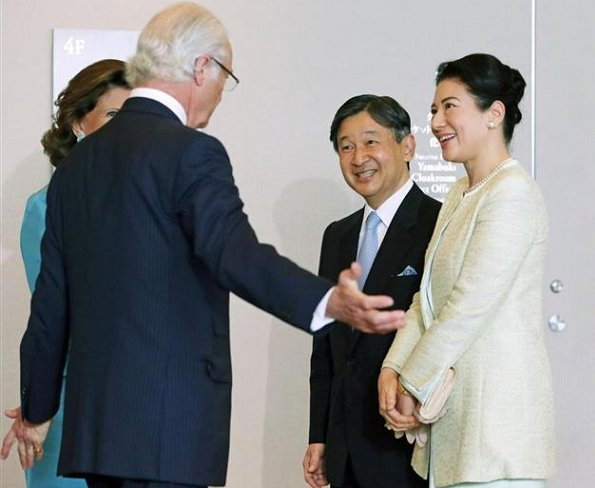 Queen Silvia at Dementia forum in Tokyo. Crown Prince Naruhito of Japan and Crown Princess Masako atteded a lunch at Palace Hotel in Tokyo