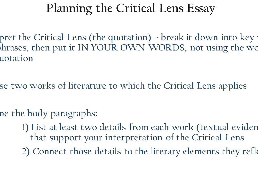 Critical lens essay quotes