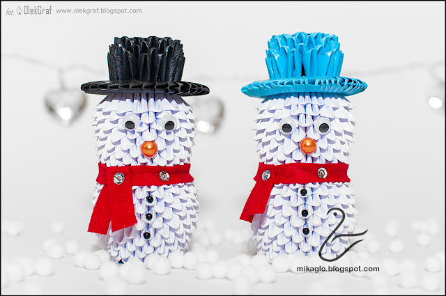511. Bałwnki z origami / 3d origami snowmen