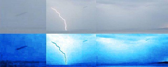 Kolme videosta kaapattua suurennettua kuvaa joissa näkyy sylinteri-UFO. Kuva: MUFON