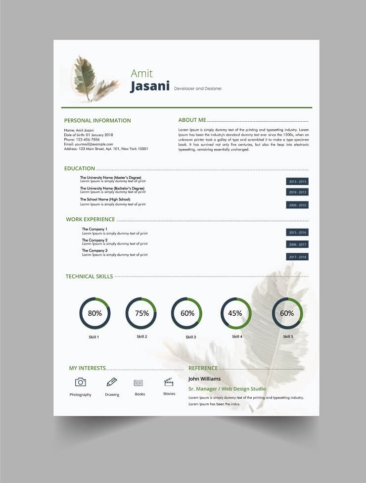 Download Template CV Word 100% Gratis - Free Take a leaf CV template