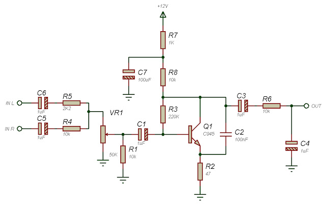 Subwoofer filter using one transistor circuit diagram
