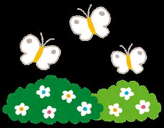 お花畑と3匹の蝶々のイラスト