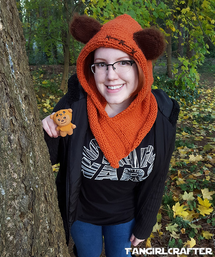 Knit orange Ewok hood like Wicket from Star Wars