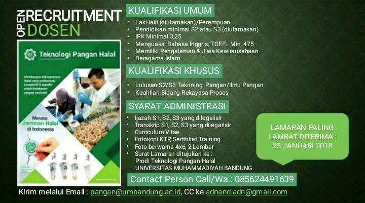 Lowongan Dosen Teknologi Pangan Universitas Muhammadiyah Bandung