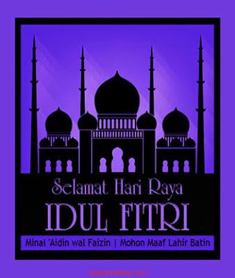 kartu ucapan lebaran gambar masjid