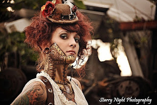 Steampunk special fx gold robot makeup with rivets and gears below skin. great cyberpunk cosplay or halloween costume for men and women.