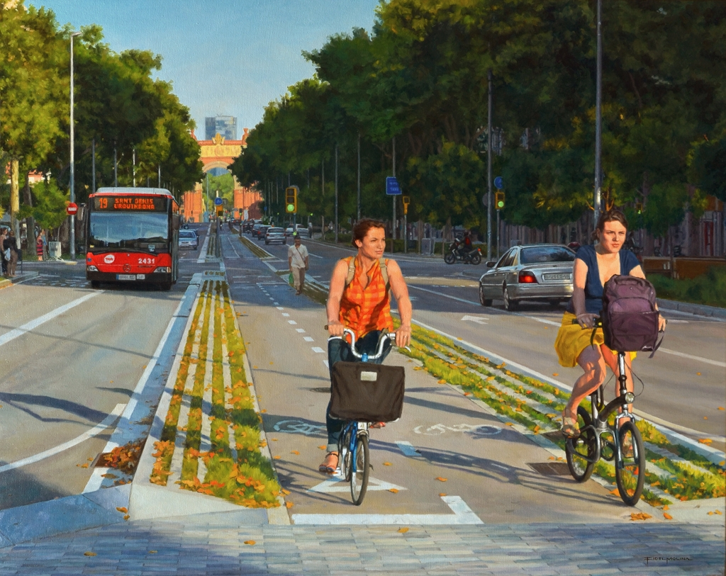 07-Passeig-de-Sant-Joan-Fidel-Molina-Realistic-Paintings-of-Cities-Frozen-in-Time-www-designstack-co
