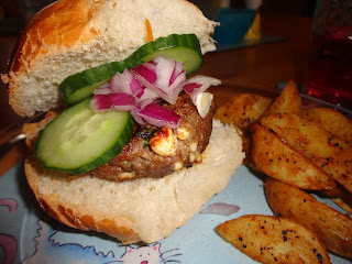 Greek Lamb and Feta Burger with Red Onion and Cucumber Relish