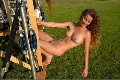 Curly Naked Girl Sarka Flies On the Ancient Airplane