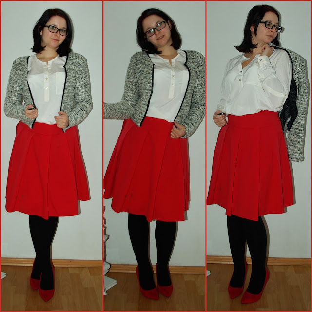 [Fashion] Lady in Red Red Skirt, White Blouse & Bouclé-Jacket