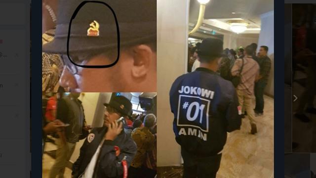 Geger, Pria Berjaket 01 Pakai Topi Lambang PKI Hadir di Debat Capres