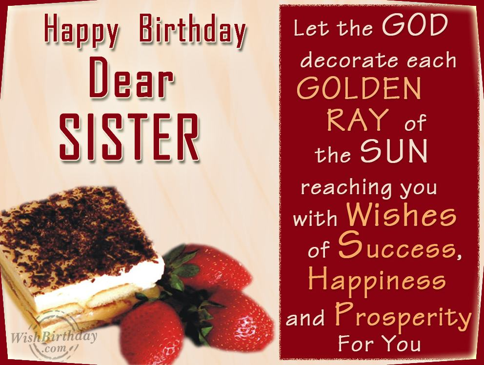 Unique Happy Birthday Wishes for My Dear Sister Romantic Love – Birthday Greeting for Her