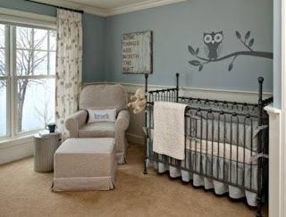 Cuarto bebé gris azul
