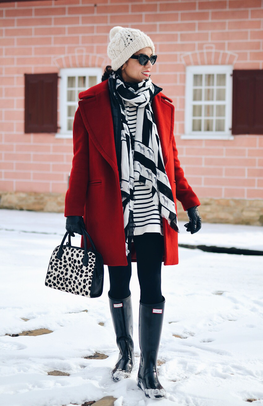 Bright color coat street style