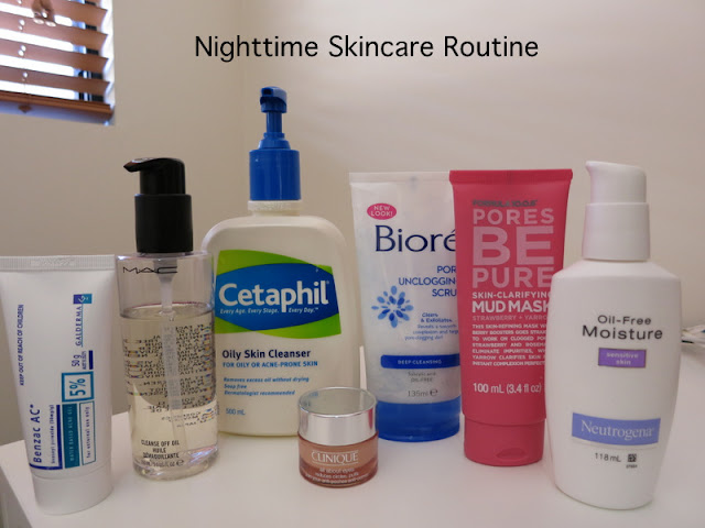 nighttime skincare routine combination oily skin, skincare routine, cetaphil, biore, formula 10.0.6, neutrogena, mac, benzac, clinique