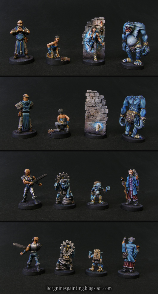 Showcase of 8 fantasy miniatures from Dungeon Twister, the whole blue team