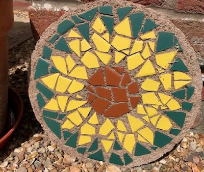 Sunflower stepping stone mosaic