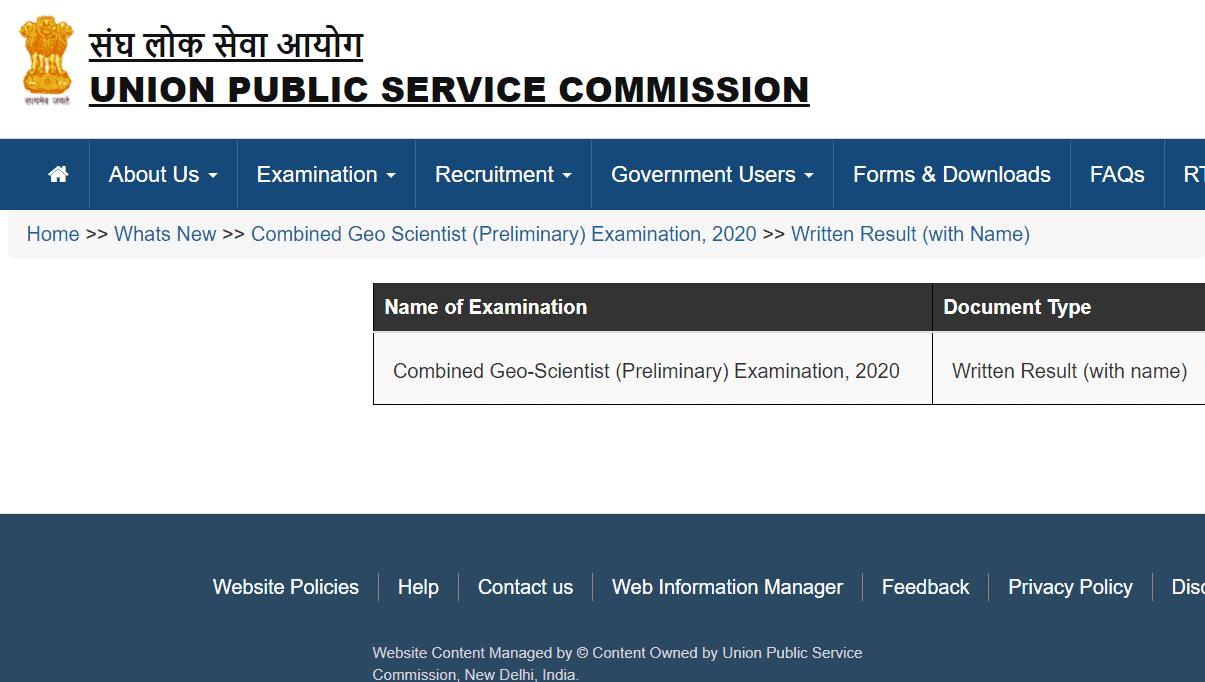 UPSC Geo Scientist Exam 2020 Result