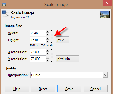 GIMP scale image width and height settings
