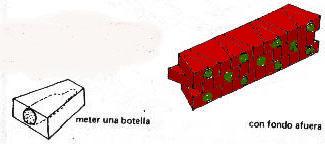 Ladrillo o tabique con botella adentro