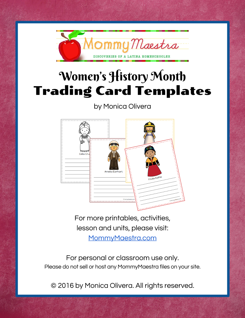 small resolution of Mommy Maestra: Free Download: Women in World History Trading Cards Template