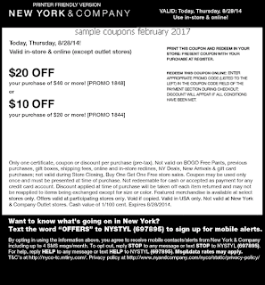 New York And Company coupons february 2017
